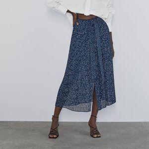 NWOT Zara Pleated Dot Midi Skirt